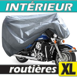 Housse moto routière (grosse cylindrée) semi-sur-mesure en Polypropylène pour protection à l'intérieur (Taille XL)