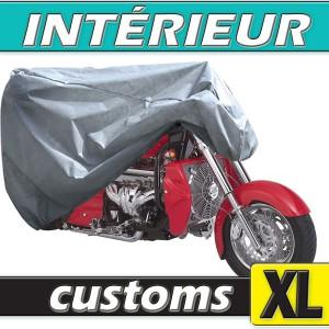 Housse moto custom (grosse cylindrée) semi-sur-mesure en Polypropylène pour protection à l'intérieur (Taille XL)