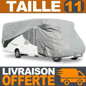 Housse protection Camping Car Taille 11 en Polyester gris 4 couches