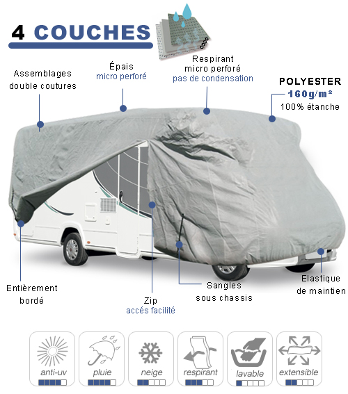 housse protection camping car taille 11 en polyester gris 4 couches. Black Bedroom Furniture Sets. Home Design Ideas