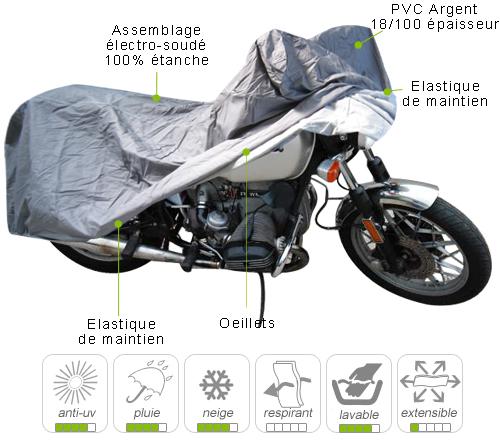 B che housse protection moto routi re avec top case et for Bache moto exterieur